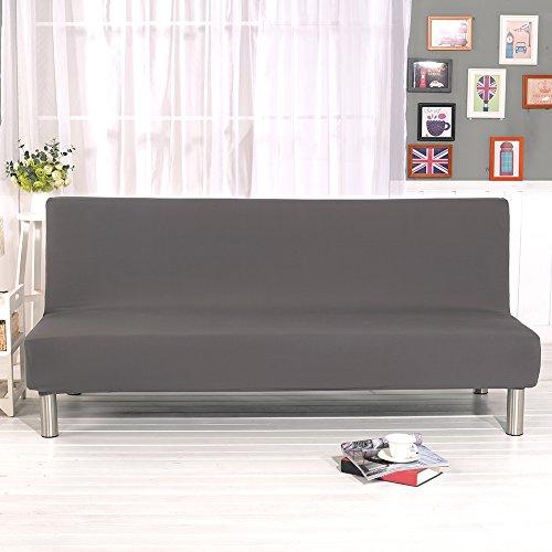 Bankovertrek, elastisch, zonder greep, overtrek voor slaapbank, gewatteerd, voor woonkamer, deken met bloemenopdruk (grijs)
