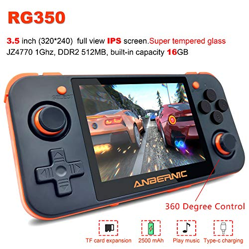 Qauick 2019 Upgraded Opening Linux Tony System RG350 Handheld Game Console with 3.5inch IPS Screen , Retro Game Console with 32G TF Card Built (Black)