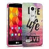 kwmobile Funda Compatible con LG Leon 3G / 4G - Carcasa de TPU Live The Life You Love en Multicolor/Rosa Fucsia/Azul