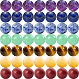 7 Chakra Natural Stone Beads 100pcs 6mm Round Genuine Real Stone Beading Loose Gemstone Amethyse Color Mixed DIY Smooth Beads for Bracelet Necklace Earrings Jewelry Making(7 Chakra Stone, 6mm)