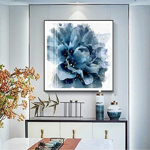 Blauwe bloem canvas olieverfschilderij afbeelding op canvas woonkamer moderne muurkunst decoratie bloem frameloze schilderij gedrukt