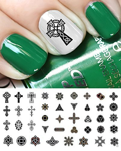 Celtic Irish Cross Set #1 Waterslide Nail Art Decals - Salon Quality! St Patty's Day! by Moon.Sugar.Decals