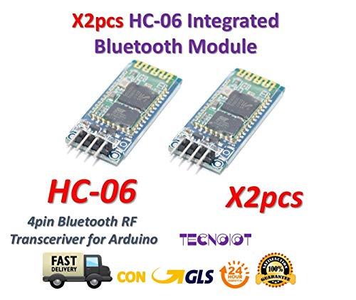 TECNOIOT 2pcs HC-06 Modulo Inalambrico Arduino HC06 Bluetooth con Base Slave para Arduino