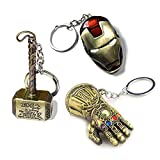 Sio & Tan Thor Stormbreaker Hammer Axe Thanos Glove Iron Man Keychain Infinity Gauntlet Key chain Key Ring (3 Pack Assorted-4, 3 Pack)