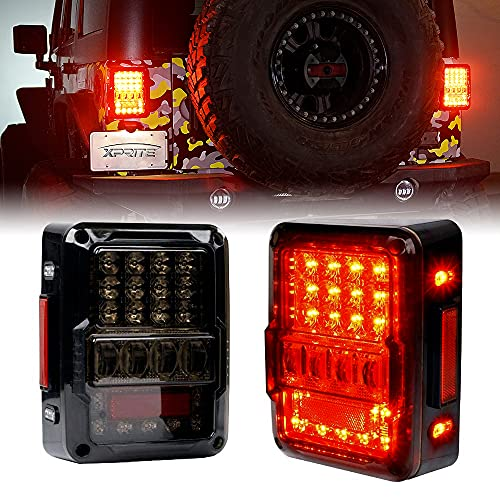 Xprite 4D Smoked Lens LED Tail Lights for Jeep Wrangler JK JKU 2007-2018, Plug & Play, Built in Resistor, w/ Parking Light, Brake Turn Signal Lamp and Reverse Light DOT Approved - 2PC