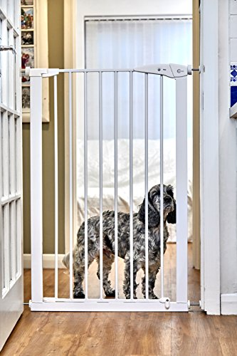 Callowesse® PET GATE – Extra hohes Tür- und Treppenschutzgitter/Hundeschutzgitter Kinderschutzgitter 75-82 cm x 110 cm – Druck-Montage (Weiß)