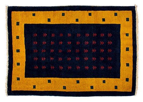 Lifetex.eu Hochwertiger Orientteppich Kashkuli-Muster (ca. 100x145 cm) Modern handgeknüpft Schurwolle Blau