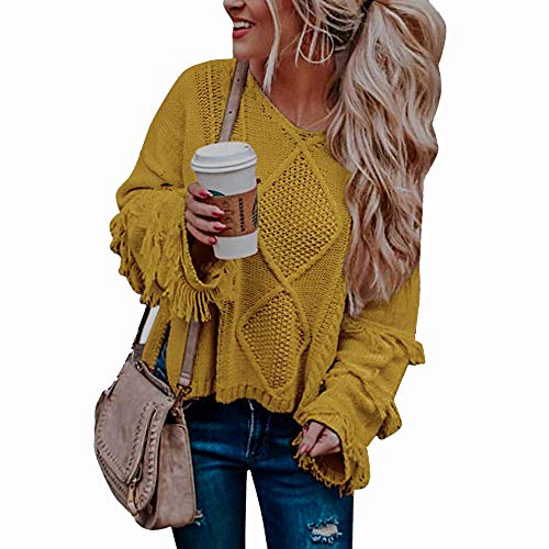 WAWJIR Women Fringe Boho Fall Sweater Cable Knit V Neck Crop Sweater Long Sleeve Oversized Pullover Cropped Tops Ginger M