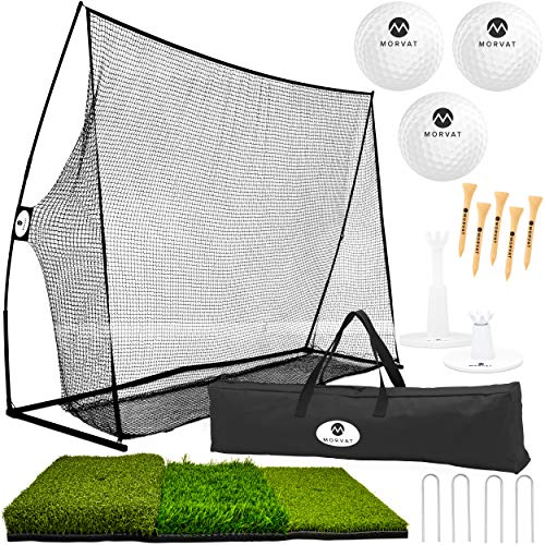 Morvat Golf Net 10x7x3 Foot Professional 17pc Bundle Pro Tri-Turf Golf Mat Golf Balls Adjustable and Wooden Tees Travel Bag for Practice Driving Golf Training Heavy Duty Set Indoor Outdoor Use