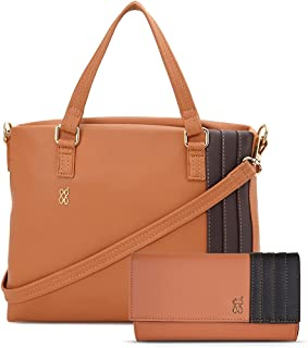 Baggit Spring-Summer 2021 Faux Leather Women's Handbag With Wallet (Brown) (Kreya Freya)