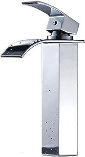 SK10 洗面用 滝水流 シングルレバー 混合水栓 手洗いボウル用 立水栓 ロング水栓 洗面台 手洗い鉢 トール水栓 蛇口 水道 取り付けホース付き (混合水栓)