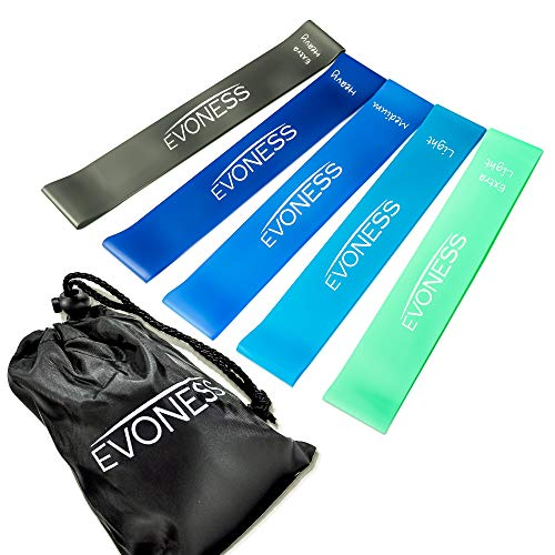 EVONESS - Resistance Exercise Loop Bands for Legs Butt Booty Home Fitness Set of 5
