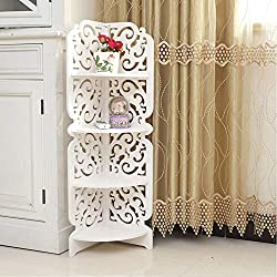 4 Tier corner shelf is made of WPC board (wood-plastic composite), which is waterproof, easy to clean, 4 tiers triangle corner shelf simple assemble,eo not need any screws This white shelf unit easily complements almost any decor and delicate cutouts...