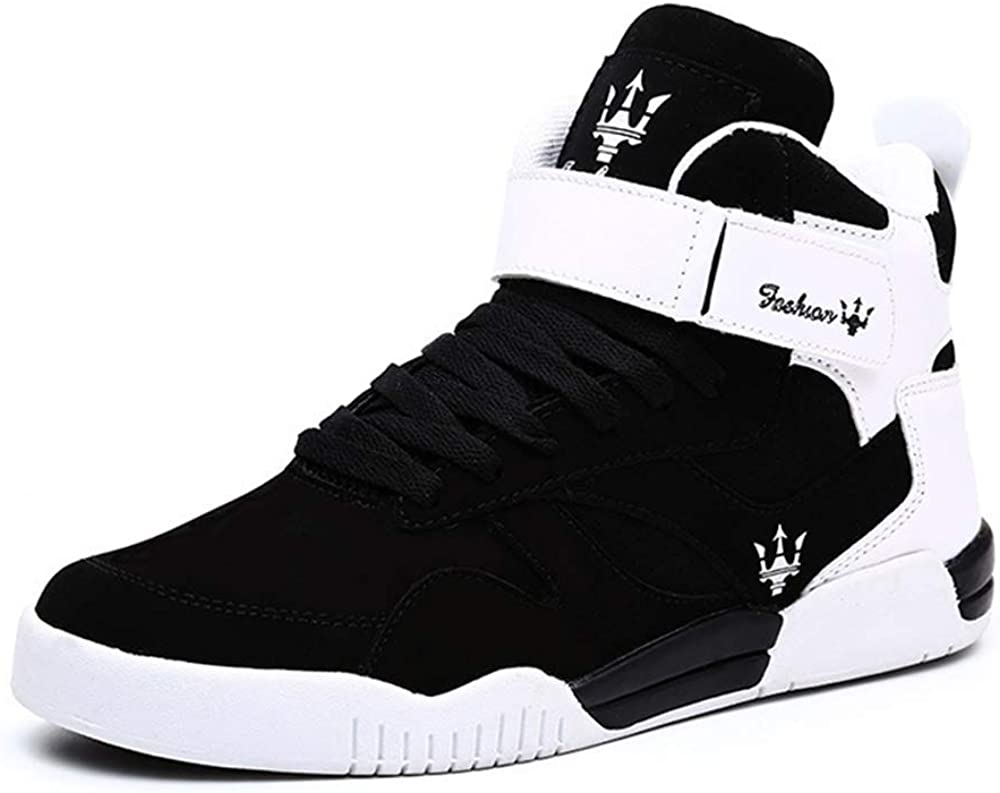 KUXIE Shoes Men's High Top Fashion Sneakers Outdoor Casual Sports Shoes Training Leather Shoes Mens Flats