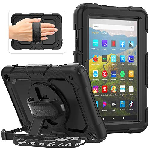 SEYMAC Case for All-New Amazon Fire HD 8 Tablet and Fire HD 8 Plus (10th Generation, 2020 Released), Heavy Duty Shockproof Case with 360 Rotating Stand/Hand Strap, Screen Protector for Kids, Black