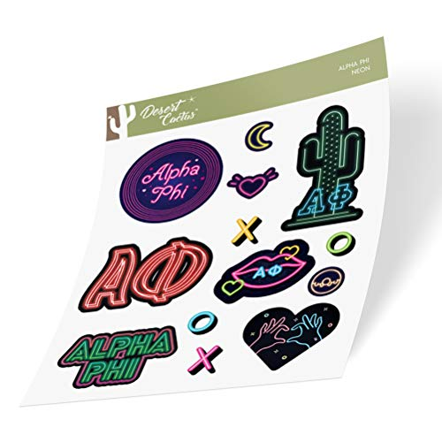 Alpha Phi Sticker Decal Laptop Water Bottle Car (Neon Sign Sheet)