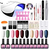 36W UV/LED Lámpara Secador de Uñas 10/12PCS Esmalte Semipermanente Kit Uñas de Gel Primer Uñas Top Coat DIY Uña Arte Kit para Manicura Pedicura (36W Nail Set G01)