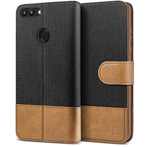 BEZ Handyhülle für Huawei P Smart Hülle, Tasche Kompatibel für Huawei P Smart, Schutzhüllen aus Klappetui mit Kreditkartenhaltern, Ständer, Magnetverschluss, Schwarz