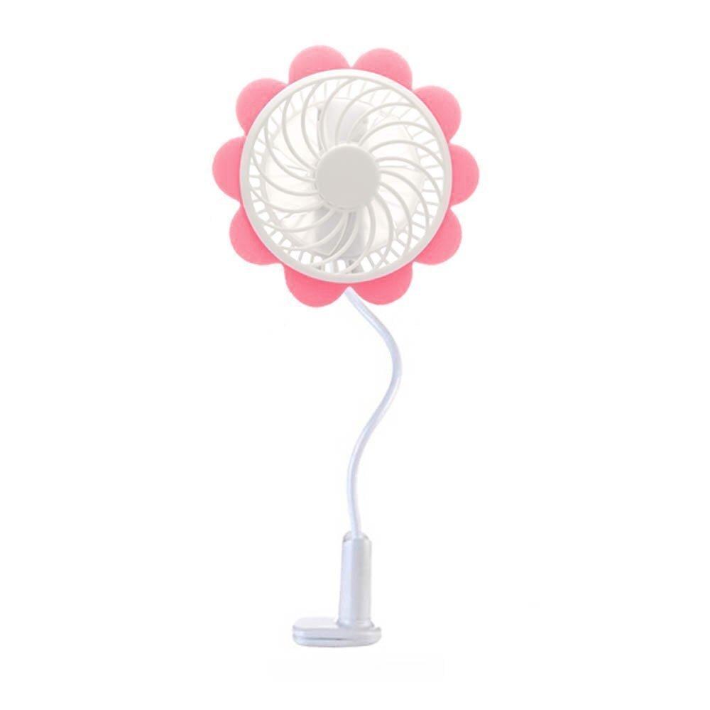 Portable USB Rechargeable Fan - Pink Sunflower Design, Baby Stroller Fan - Baby Breeze Premium Cooling Fan with an Adjustable Neck, Variable Speeds - Baby Stroller - Office Desk - Home - Car Fan