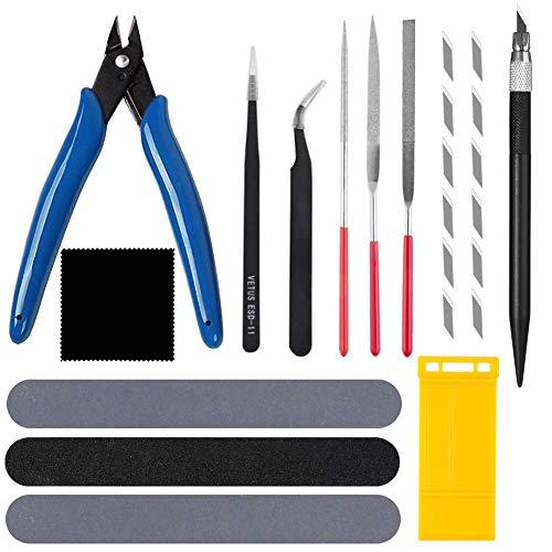 13種 プラ工具セット入門用 工具 セットニッパー ヤスリ シール用 精密ピンセット 付 クラフトツールシリーズ モデラーズナイフ