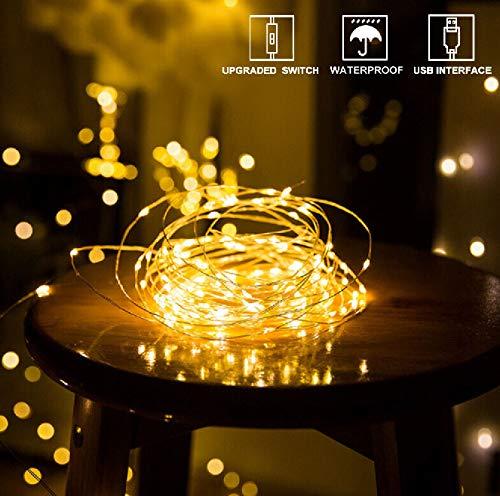 WOWDSGN 13.5m 120er LEDs USB Lichterkette für Innen & Außen, LED Draht Lichterkette mit Schalter, Wasserdicht, Stimmungslichter für Zimmer, Weihnachten, Party, Hochzeit, DIY usw. Warmweiß