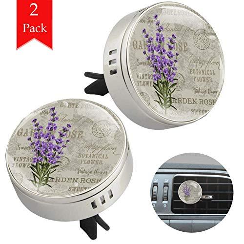 LORVIES Lavendel Rose auto Diffuser Aromatherapie etherische olie Diffuser Vent Clip luchtverfrisser, 2 STKS