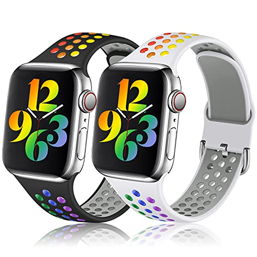 Henva Sport Bands Compatible with Apple Watch Band 38mm 40mm 42mm 44mm for Women Men, Breathable Silicon Wristbands with Air Holes for iWatch SE Series 6/5/4/3/2/1, White/Colorful, Black/Colorful, S/M