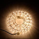 LED Rope Light Outdoor - Plug in (120V), 287 Warm White Lights, 24 Ft Length, Connectable,...
