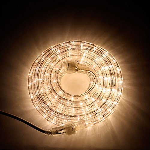 LED Rope Light Outdoor - Plug in (120V), 287 Warm White Lights, 24 Ft Length, Connectable, Dimmable, 1/2 Inch Tube, Heavy Duty, Waterproof, for Exterior Lighting and Christmas Decor