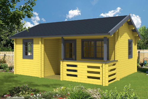 Gartenhaus mit Schlafboden FALUN A 70 Blockhaus 595 x 500 cm Holzhaus 70 mm Holz NEU