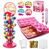 Cake Pop Making Kit with Lollipop Molds, Cake Pop Stand, Cake Pop Sticks, Candy Treat Bags, Decorating Pen...