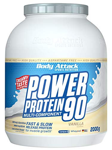 Body Attack Power Protein 90, Vanille, 2 kg, 5K Eiweißpulver mit Whey-Protein, L-Carnitin und BCAA für Muskelaufbau und Fitness, Made in Germany