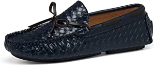 ZiWen Lu Fashion Woven Penny Loafers for Men Genuine Leather Lightweight Breathable Dress Wedding Casual Shoes Knot Anti-Slip Flat Slip-on Round Toe (Color : Blue, Size : 7 UK)