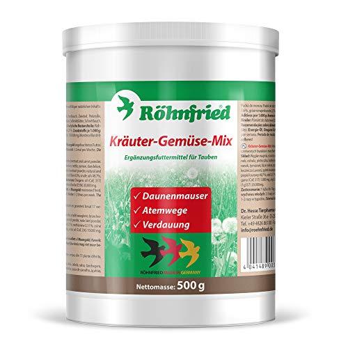 Röhnfried – Kräuter-Gemüse-Mix - mit 17 Kräutern für Tauben (500 g) – Ergänzungsfuttermittel für Tauben