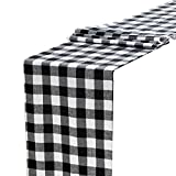 Anteer 12 x 108 inch Buffalo Check Table Runner Cotton Black and White Plaid for Family Dinner Outdoor or Indoor Parties Thanksgiving Christmas Gathering (Black&White, 1)