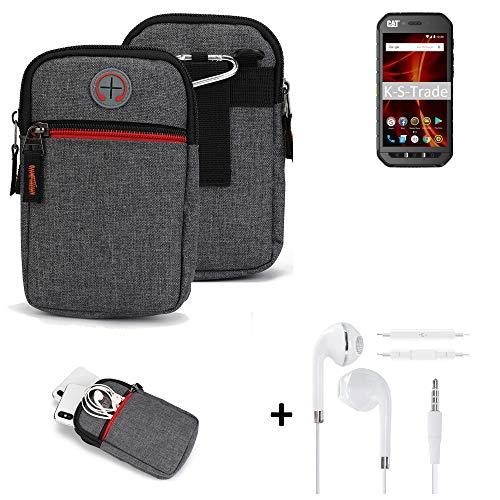 K-S-Trade Gürtel-Tasche + Kopfhörer Für Caterpillar Cat S41 Dual-SIM Handy-Tasche Holster Schutz-hülle Grau Zusatzfächer 1x