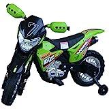 HOMCOM Motocross électrique 35 W Enfant 3 à 6 Ans dim. 107L x 53l x 70H cm roulettes Amovibles Vert