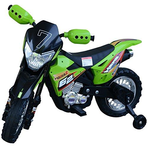 homcom Moto da Cross Elettrica con Rotelle Bambini 107 × 53 × 70cm Verde