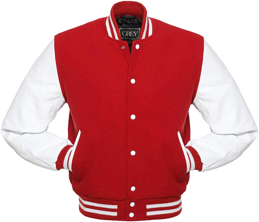 Varsity Jacket, Wool Body with Leather Arms Letterman Baseball Unique & Stylish ( Red-White-XL)