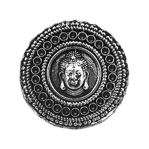 Efulgenz Boho Vintage Gypsy Indian Oxidized Silver Statement Crystal Buddha Adjustable Ring Jewelry