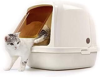 猫用トイレ本体 脂肪ペットのための半分開いたフードが付いているそして前部ゲートが付いている大容量ペット猫のトイレ箱 適当な容量、快適に使える (色 : 白, サイズ : 64*47*49cm)