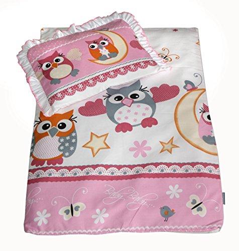 Rawstyle 4 tlg. Babybettwäsche Set (Eulen Rosa/Pink) Garnitur Kinderbettwäsche Bettwäsche **Decke + Kissen + Füllung**
