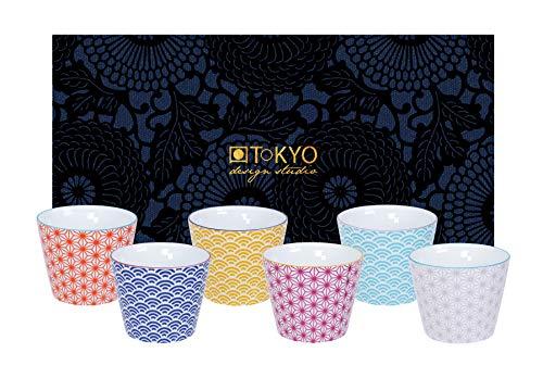 TOKYO design studio, Star Wave, 6 Becher Set in dekorativer Geschenkbox, Porzellan Geschirr, 180ml
