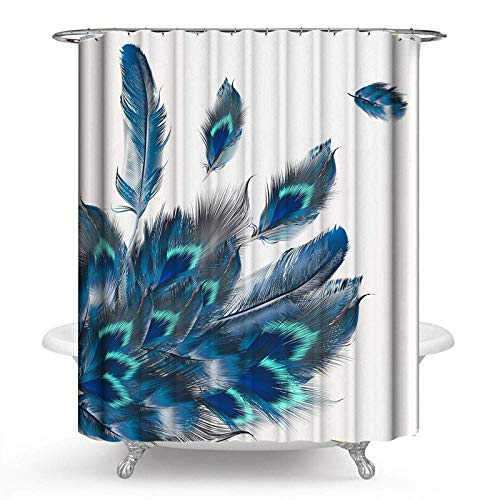 PHNAM Peacock Feather Watercolor Shower Curtain Sets with Hooks Waterproof Colorful Art Print Polyester Fabric 72x72inches Long Spa Bathroom Decoration Bath Curtains for Shower, Bathtub