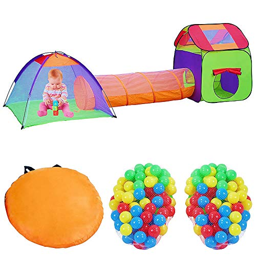 Melko Spielzelt mit Tunnel und Bällebad inkl. 200 Bälle Kinderzelt Krabbeltunnel Babyzelt mit Tasche