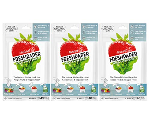 THE FRESHGLOW Co FRESHPAPER Food Saver Sheets for Produce, 24 Reusable Sheets (3 Packs), Keeps Fruits & Vegetables Fresh for 2-4x Longer