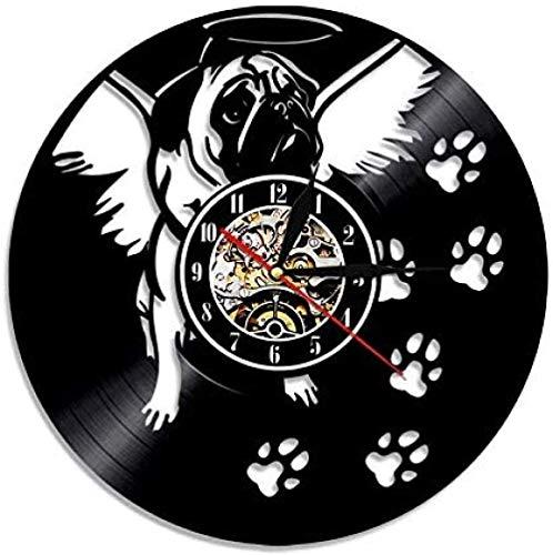 CCGGG Lindo y amigable Perro Pug Disco de Vinilo Torre del Reloj Arte Mascota Cachorro Vida Animal Colgante de Pared decoración Perro Mascota Productos Hechos a Mano