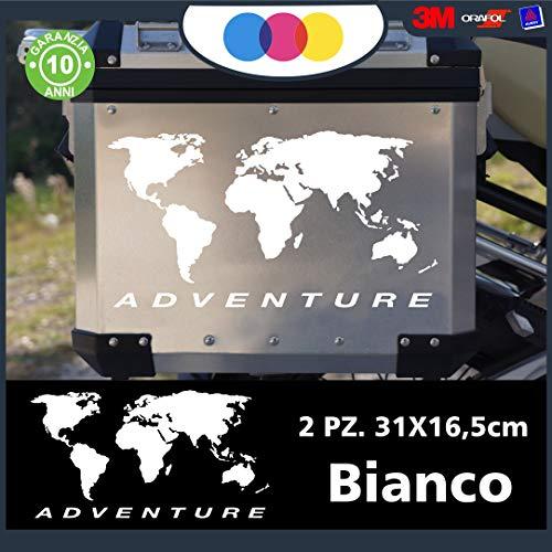 2 pegatinas de planisfero   aptas para Valigie Moto – R 1200 1150 1100 GS Maletas Adventure R GS ADV Motorad Moto – Color: (blanco)