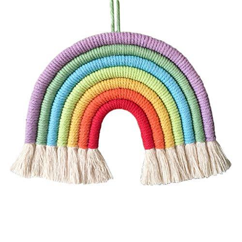 Fxikun Wandteppich, Regenbogen, Bommel, Schlafzimmer, Dekorativ, Baumwollgarn, Makramee aus 7 geflochtenen Kordeln