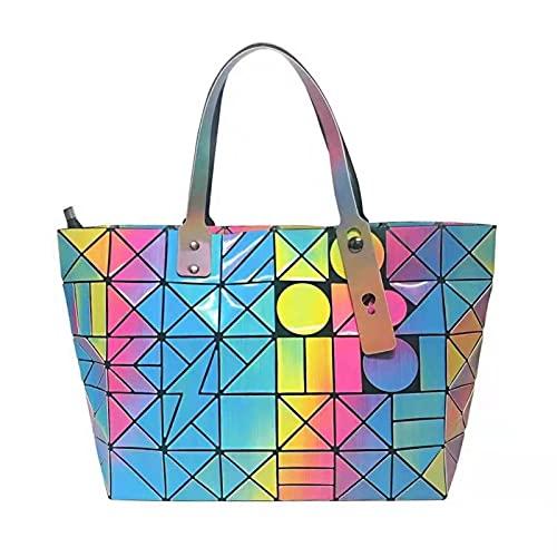 QIANJINGCQ Trendy Fashion All-match Geometric Cool Rainbow Folding Lingge Handbag Personality Ladies Shoulder Bag Backpack